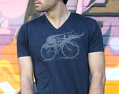 Beetle on a bike V-neck funny tshirt Navy Blue shirt for men - Free shipping