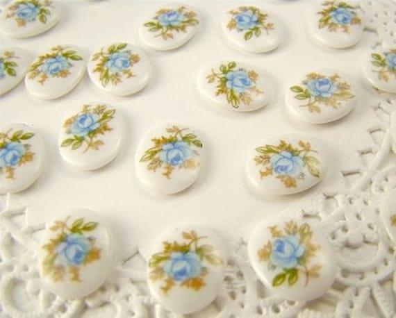 Vintage Pale Blue Rose Milk Glass Oval Cabochons 10mm x 8mm (6)