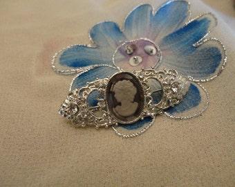 Stunning Silver Rhinestoned Cameo  Brooch