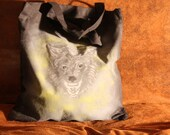 Cotton tote bag with wolf design airbrush with black rhinestone eyes OOAK