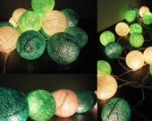 20 Big Cotton Balls Mixed Green Tone Fairy String Lights Party Patio Wedding Floor Table or Hanging Gift Home Decor Christmas Bedroom