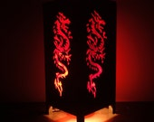 Asian Oriental Red Japanese Dragon Zen Bedside Floor or Table Lamp or Bedside Wood Paper Light Shades Furniture Home Decor