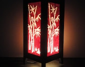 Asian Oriental Red Japanese Bamboo Bedside Floor or Table Lamp or Bedside Wood Paper Light Shades Furniture Home Decor