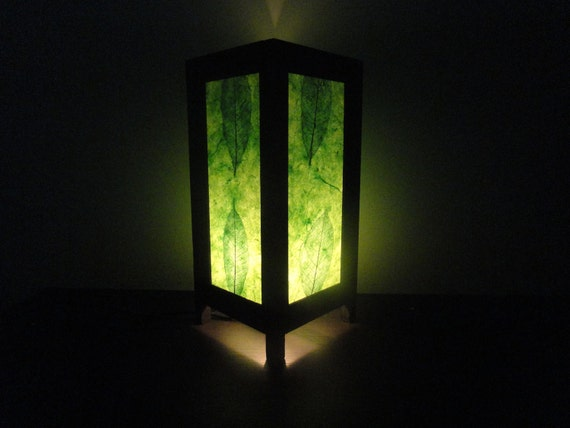 Last SALE 10 % Set of 2 pcs. Asian Oriental New Green Leaves Art Bedside Floor or Table Lamp Paper Light Shades Furniture Home Decor