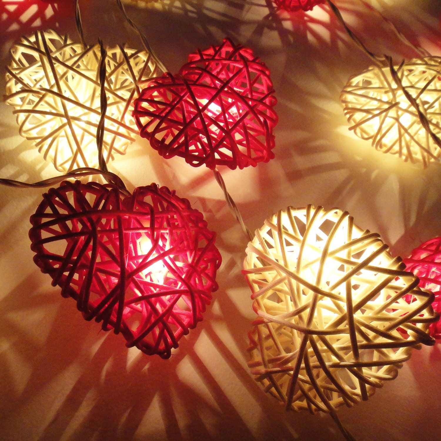 Rattan Hearts String Lights : 20 Red White Heart Rattan Lover Fairy Lights String by marwincraft
