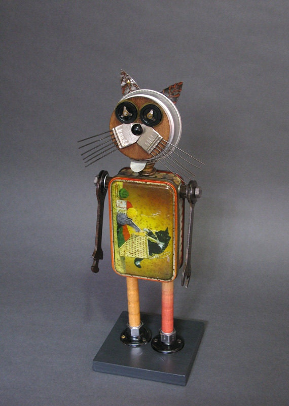 Found Object ROBOT SCULPTURE - Nice Kitty