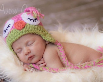 Sleepy Owl Baby Hat Photo Prop