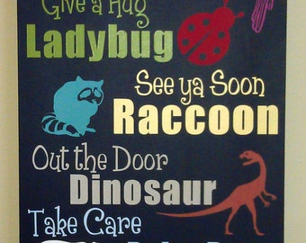 12x36 - See You Later Alligator... (Rhyming Animal Goodbye Sayings) Painted Wood Sign