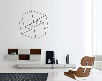 Optical Illusions Mobius Square vinyl wall sticker decal geometric art (ID: 151006)