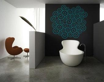 Wall Art - Waves pattern vinyl wall decal / sticker / mural removale wall decor