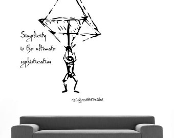 Da Vinci inspirational quote and Parachute drawing vinyl wall decal for your lab classroom school university decor (ID: 131041)