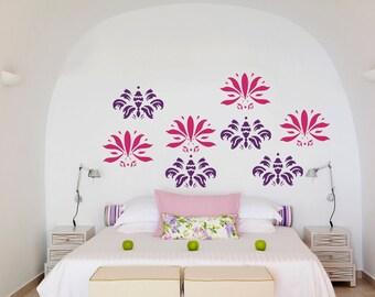 Wall Art - 8 Abstract floral flock vinyl wall decal / sticker / mural removable wallpaper