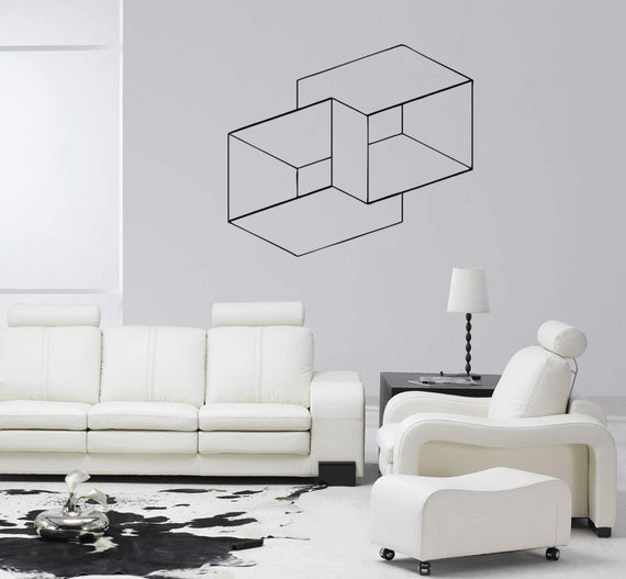 Optical-illusion-wall-decor-goemetric-square-masking-tape