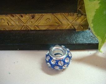 Large Crystal Spacers Metal 15mm Stunning Blue Enamel & White Crystals, Item M365 - 1pc