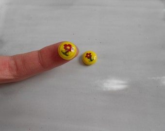 Yellow Teeny Flower Glass Button Beads, Dainty and Sweet, 10mm, 2 pcs