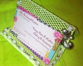 Business Card Metal Holder Lime Yellow Green Shabby Chic Holder, pearl roses Stand