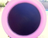 CHALKBOARD TRAY pink Tray with Pearls Home Decor Chalkboard Sliver Plated Round Tray Pearls Pink Blue and Decoupage with patina in the other