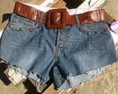 Studded Upcycled Blue Jeans Silver Studded Jean Shorts and Brown Belt Wide Buckle Hotpants High Waisted Shorts Pyramids Sz 32