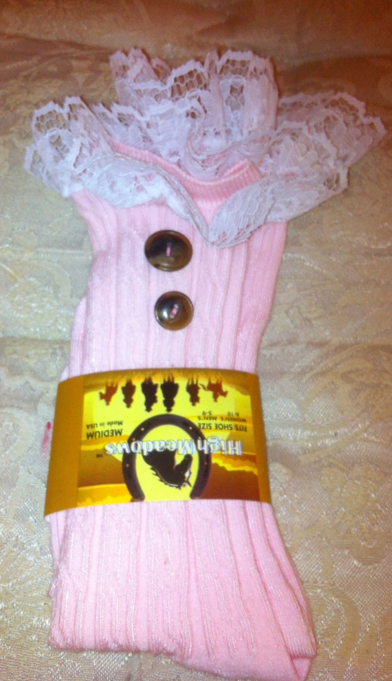 SALE Pink Socks Lacey Pink - open-knit socks - patterned - boot socks - socks Med SALE Size 5-6.5 boot
