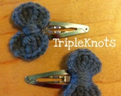 Crocheted Bow Barrette 2pc set...Ready To Ship