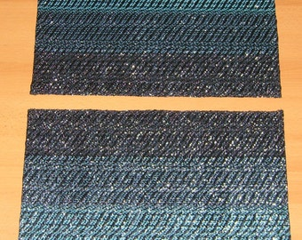 """Hand woven """"Waves""""- placemats set of 2, recycled materials"""