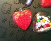 Heart Charms - Glitter and Candy - 4 Resin Heart Charms