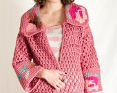 RESERVED for MARLYN, SALE - Long Sweater Coat with Floral Pattern, Hand knit sweater