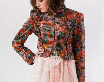 SALE Velvet Floral Cropped Jacket, Spring jacket, Lightweight jacket, Spring coat, Spring cropped jacket