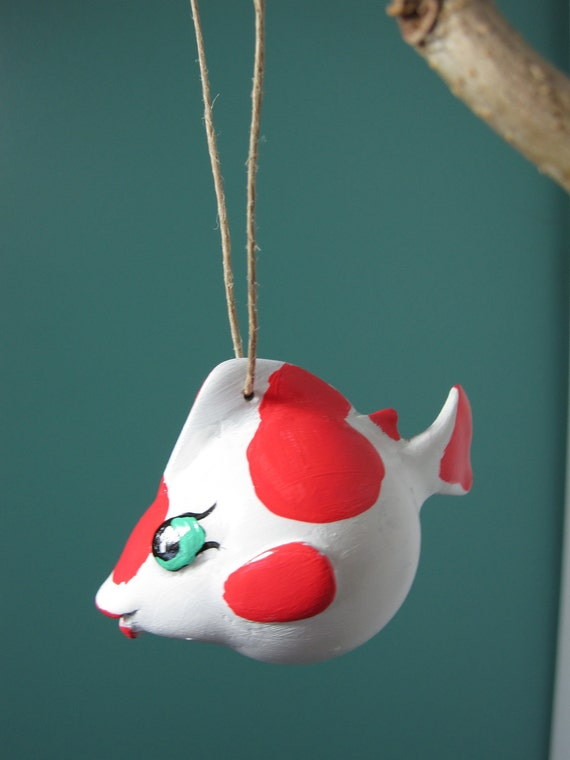 Koi fish goldfish koi ornament sculpture handpainted for Koi fish ornament