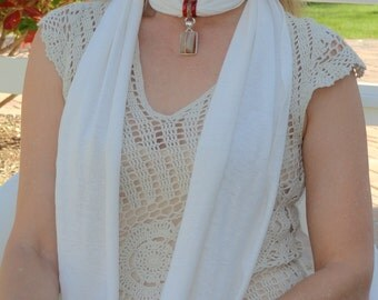 Chakra Healing Hemp Jersey Scarf Necklace with Reiki-Attuned Striped Agate Pendant Gift for her.