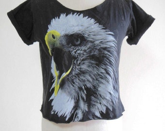 Eagle shirt eagle tank Animal Shirt teen clothing cute shirt summer shirt Screen Print Women Crop Top Bleached Shirt  Eagle T-Shirt Size M