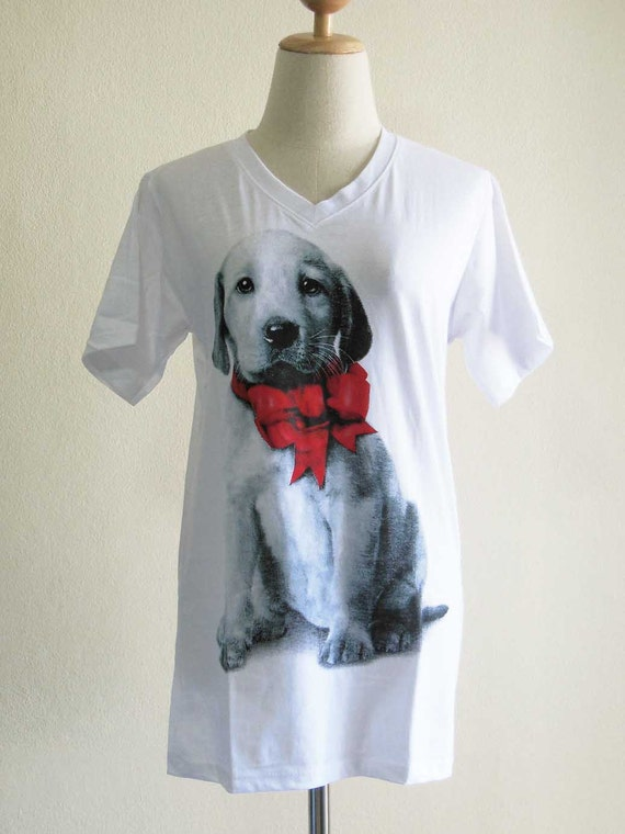 Dog Red Bow Knot Ribbon Animal T Shirts Dog T Shirt V Neck Shirt Unisex T-Shirt White T-Shirt Screen Print Size M