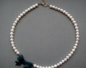 Pearl Necklace with Bow, Freshwater Pearl Jewellery, Polymer Clay Bow, Polymer Clay Jewellery, Pearl Jewellery, Teal Bow Necklace
