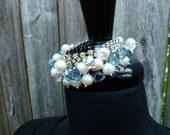 The Malibu Barbara Cuff -- upcycled rhinestone cuff bracelet with shimmery blue quartz and large saltwater pearls