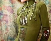 Hand painted art grass green women shirt, OOAK unique top