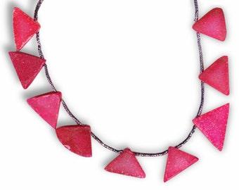 OOAK Fuchsia Quartz Drusy Triangle Focals 9-PC Strand Pendant Beads