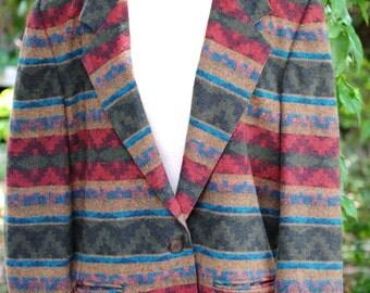 Vintage Casablanca Tribal Women's Boyfriend Blazer Jacket Multi-colored Size 12