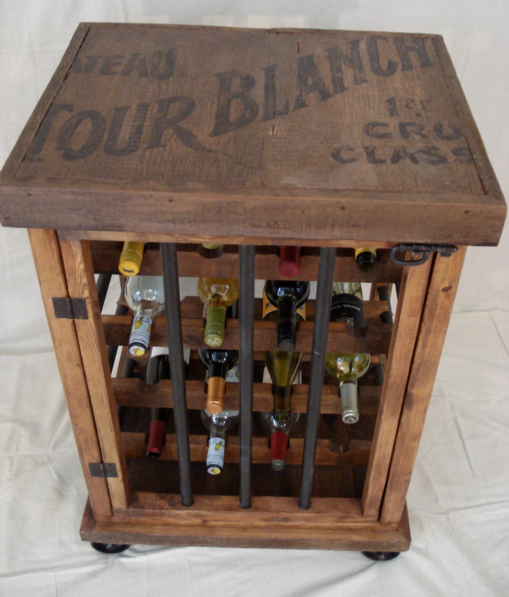 Rustic Wine Bottle Cabinet