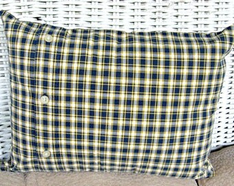 Upcycled Men's Shirt Pillow Cover for Home or Dorm Room--Navy and Yellow Plaid, Handmade