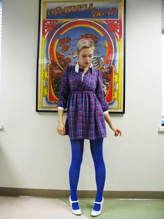 90s Purple Plaid Babydoll Dress / Grunge Schoolgirl / Shirt Dress / S/XS
