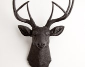 Black Faux Deer Head Wall Mount, The Ignatius by White Faux Taxidermy, Decorative Wall Hanging Ornament