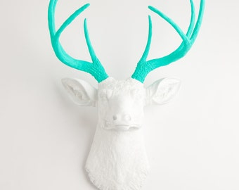 White Faux Taxidermy Deer Head Decor- The Oleg - White W/ Turquoise Antlers Resin Faux Deer Head- faux taxidermied Stag - Faux Animal Head