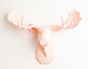 Blush Moose Head Wall Mount, The Lillian - Cameo Pink Resin Moose Head by White Faux Taxidermy, great blush wedding decor