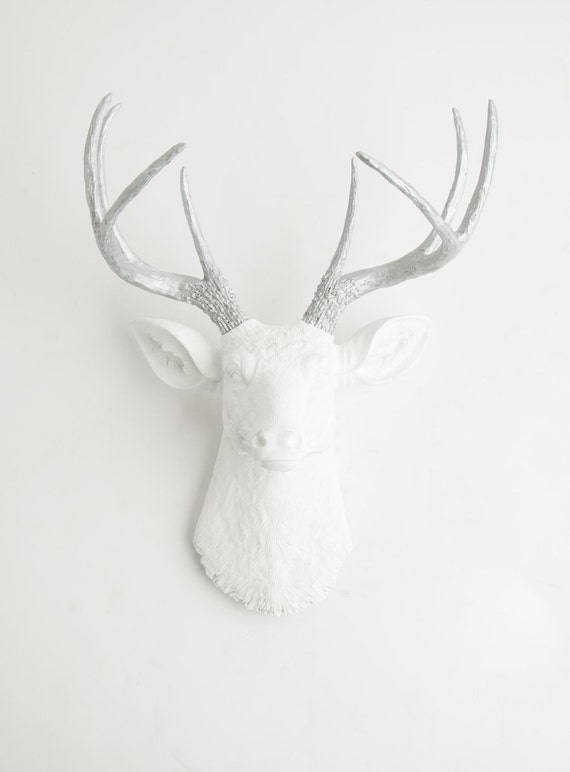 Deer Head Wall Mount - The Frankfurt by White Faux Taxidermy - White W/ Metallic Antlers Resin Deer Head Art - Stag Resin Chic Wall Decor