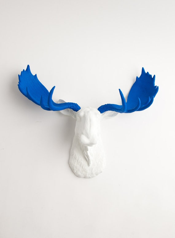 Faux Taxidermy Moose Head - The Tsar - Resin Moose Head W/Blue Antlers  by White Faux Taxidermy Wall Sculptures & Charming Home Decor