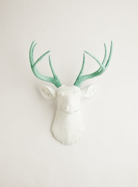 White Deer Head Wall Mount, The Isabella- Seafoam Green Antlers on a White Faux Deer Head, Stag & Resin Animal Heads by White Faux Taxidermy