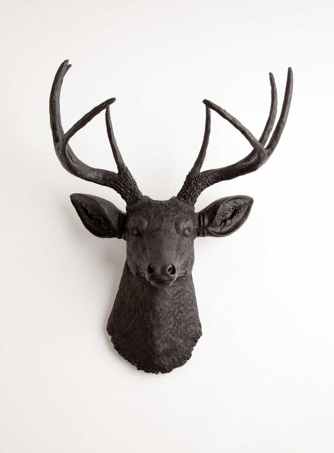 🔎zoom - Black Faux Deer Head Wall Mount The Ignatius By White Faux