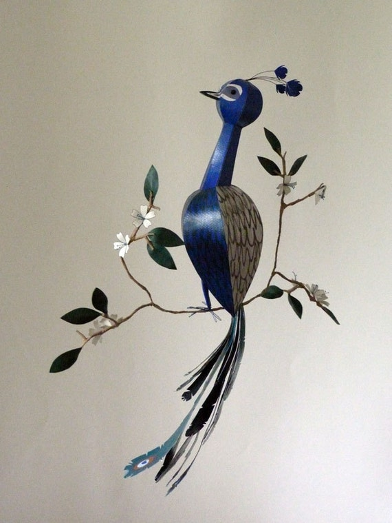 Peacock sculpture, 3d wall decor, bird mobile, 1st anniversary gift, one year anniversary