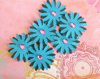Paper flower embellishments-peel and stick set of 6 green and teal