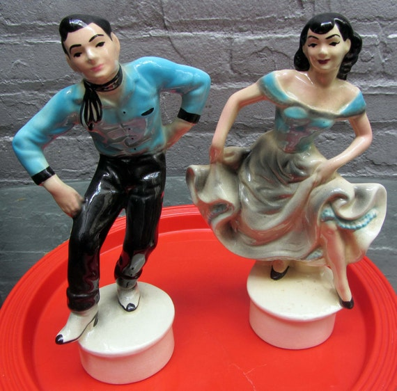 Ceramic FIGURINES 1950's Dancers  - Western Swing, Square Dance, Rockabilly  - PERFECT condition